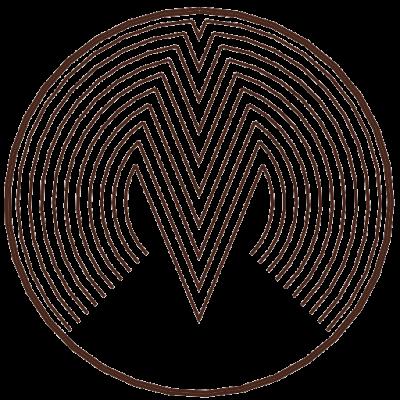 Logotip Mizarstva Makovec je stilizirana zaokrožena črka